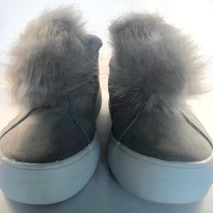 Report Faux Fur Platform Slip On Sneakers Grey